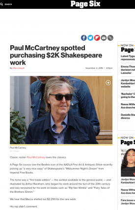 Paul McCartney spotted purchasing $2K Shakespeare work from IFB!